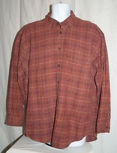 St Johns Bay Xlt Men Shirt Long Sleeve Red Plaid Soft Big