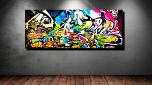 poster bild xxl pop art graffiti abstrakt mauer wand bunt zeichen kunst 100x40 ebay. Black Bedroom Furniture Sets. Home Design Ideas