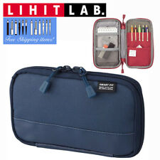 Lihit Lab Smart Fit Actact Compact Pen Case Bag Polyester A7687-11 Navy Blue