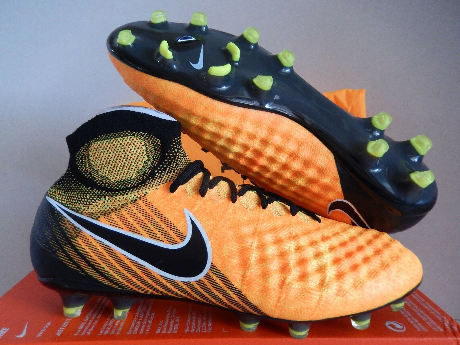 Nike Magista obra II FG Láser Naranja-Negro-blancoo-Volt Talla 7 [844595-801]