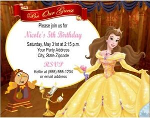 Beauty Beast Belle Princess Birthday Party Invitations Personalized