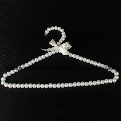 Plastic Pearl Beaded Bow Clothes Dress Coat Hangers Weding For Kid Children
