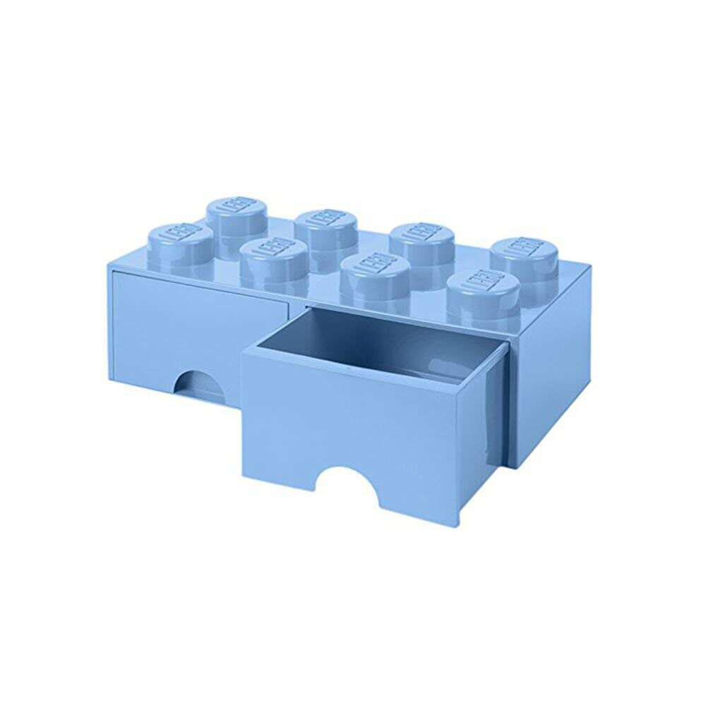 Lego Ziegel Aufbewahrungsschachtel 8 Knöpfe mit 2 Schubladen - Blau - Spielzeug