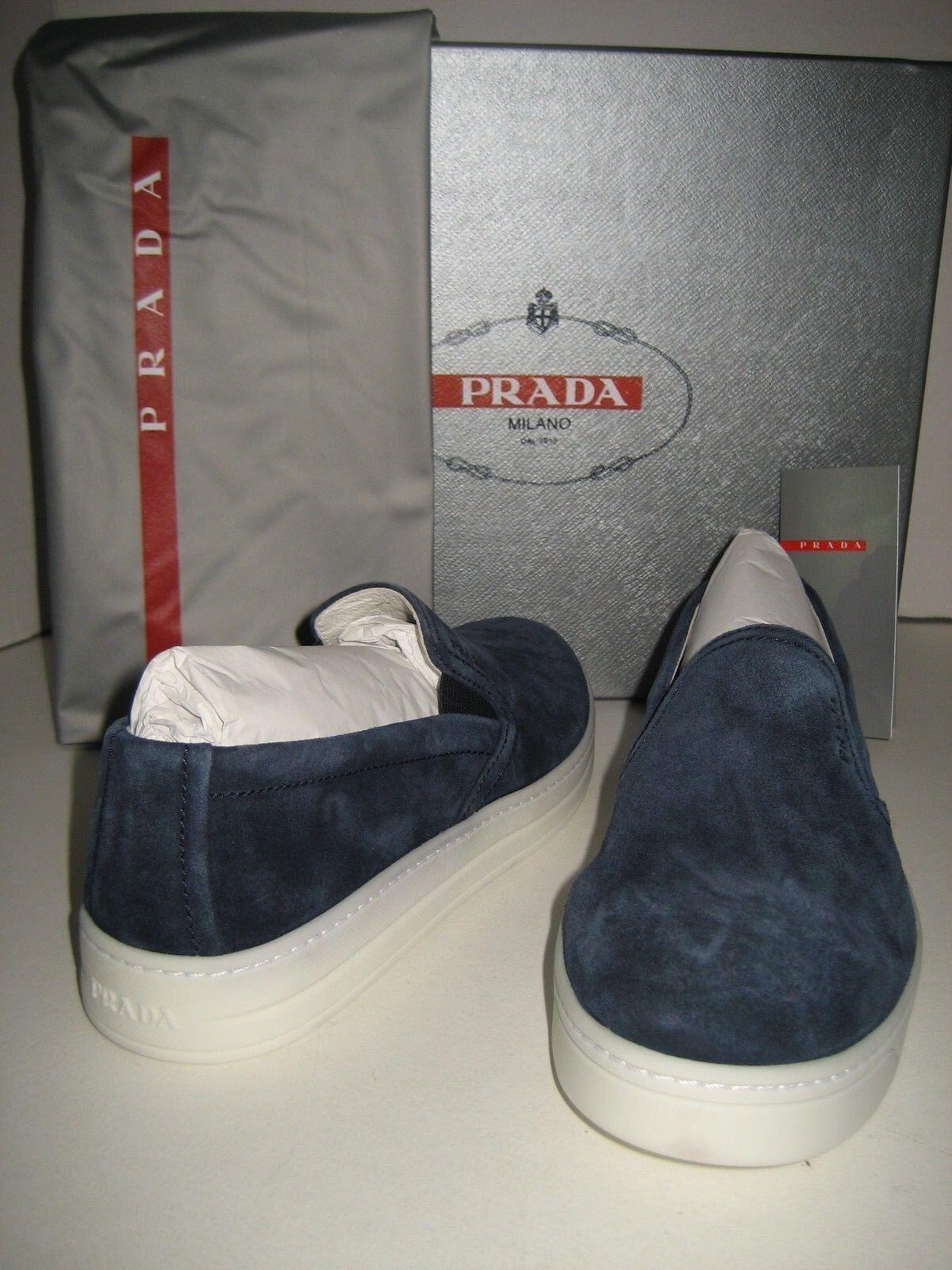 Zapatos de Cuero nuevo Mujeres PRADA US 5.5 5.5 5.5 EU 36 Slip On Azul patinador Tenis de gamuza Bx  comprar barato