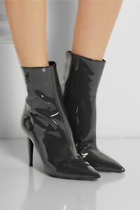 804cabc6d70  895 New Tamara Mellon EXCESS Dark Grey Patent Leather Ankle Boots ...