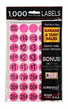Yard Garage Sale Price Stickers Prepriced Labels Self Adhesive Tags 1000 Pcs New
