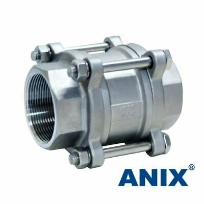 """1-1//4/"""" Spring Check Valve 3-Piece Vertical In-Line 1000 WOG Stainless Steel 316"""