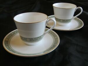 2-Sets-Royal-Doulton-Rondelay-Cup-amp-Saucer-H5004-Green-Band-Flowers-Gold-Rim