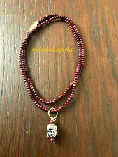 Red Sandal wood Buddhist Amitabha Buddha Lucky Amulet Pendant Beads Necklace