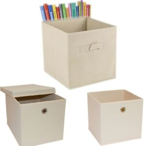 Beige Foldable Storage Collapsible Folding Box With Lid Clothes Organizer Cube