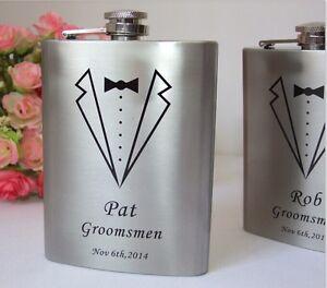 8oz-Wedding-Hip-Flask-Gift-Set-Personalised-Bomboniere-Glass-Favor-Gift