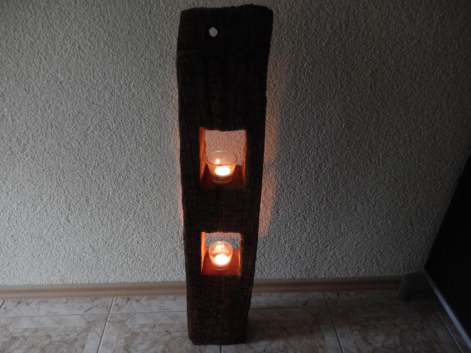 Holzbalken Eichenbalken Kerzenständer Windlicht Antik Unikat ca. 200-300 Jahre