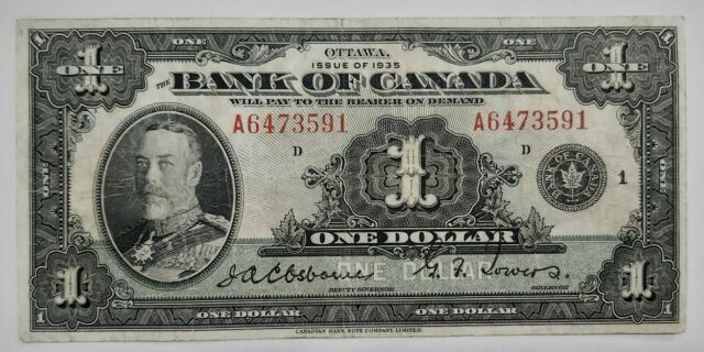 1935 $1 BC-1, Bank of Canada, Osborne-Towers, English, Series A, Check Letter D,