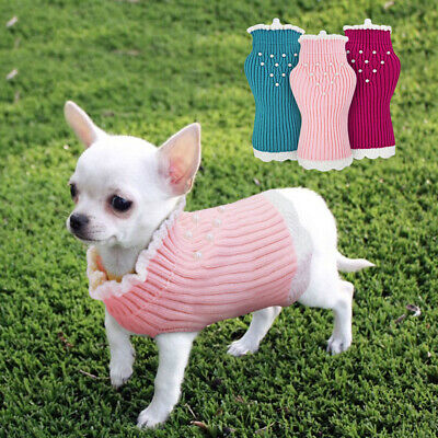 Knitted Small Dog Sweater for Girl Puppy Soft Knitwear Jumper Chihuahua Clothes   eBay