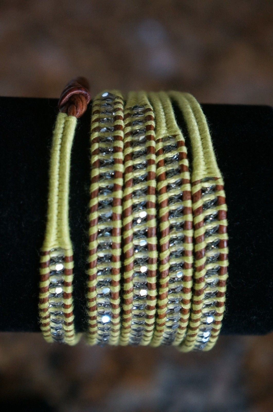 NEW Chan Luu Men Women Swarovski Crystal Neon Yellow Cotton 5 Wrap Bracelet