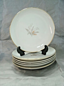 "Vtg Kaysons GOLDEN RHAPSODY Set of 6-6+"" Bread Dessert Plates Fine China Japan"