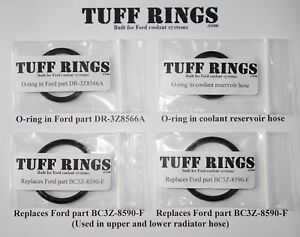 Greased O-Rings for DR3Z8566A 2x BC3Z-8590-F & Reservoir hose, GUARANTEED FIT!
