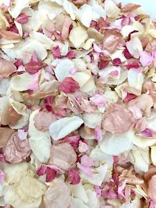 ROSE-GOLD-Pink-Ivory-Dried-Biodegradable-Wedding-Confetti-Real-Flower-Petals