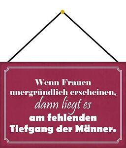 Unergründliche Women Men's Shield with Cord Tin Sign 20 X 30 CM FA1578-K