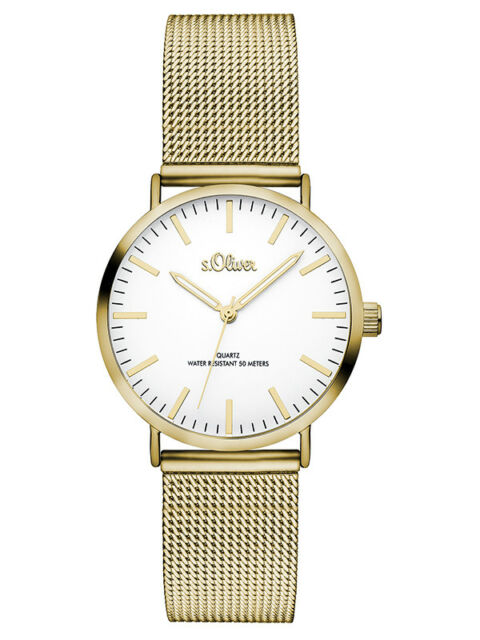 S.Oliver Femmes Mesh Montre SO-3271-MQ IP Gold Quartz/Analogue