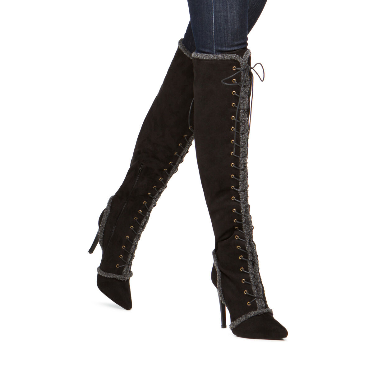 NEW w/ Lace-up Pointed-Toe Over-the-Knee Stiefel w/ NEW Faux-Shearling Accents Größe 8 c305e9