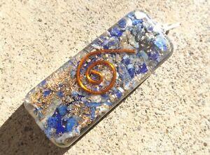 Orgone healing crystal pendant ~ natural lapis gemstone chips ~ copper spiral