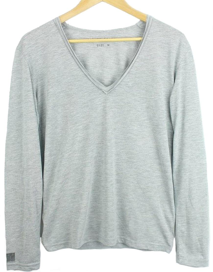 Eleven Paris Men's Basic BIG V Long Sleeved T-shirt Grey (EPTP002)