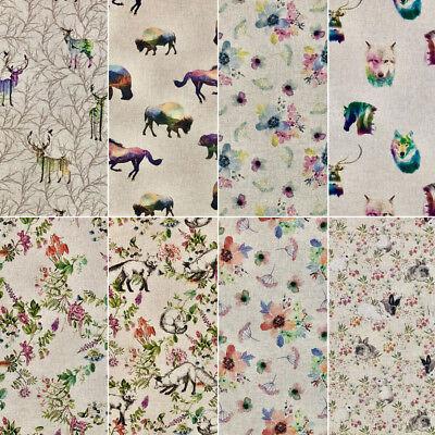 Botanical Garden Digital Print Cotton Rich Linen Fabric Curtaining /& Upholstery