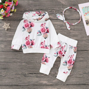 Newborn-Kids-Baby-Girls-Floral-Print-Hooded-Tops-Headband-Pants-Outfits-Set