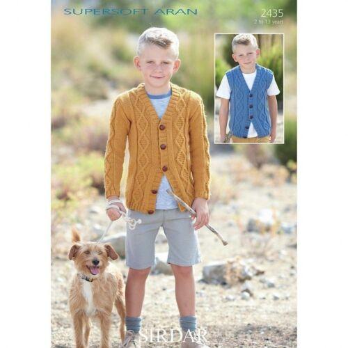 2435 Sirdar Supersoft Aran Childrens Knitting Pattern Cardigan /& Waistcoat