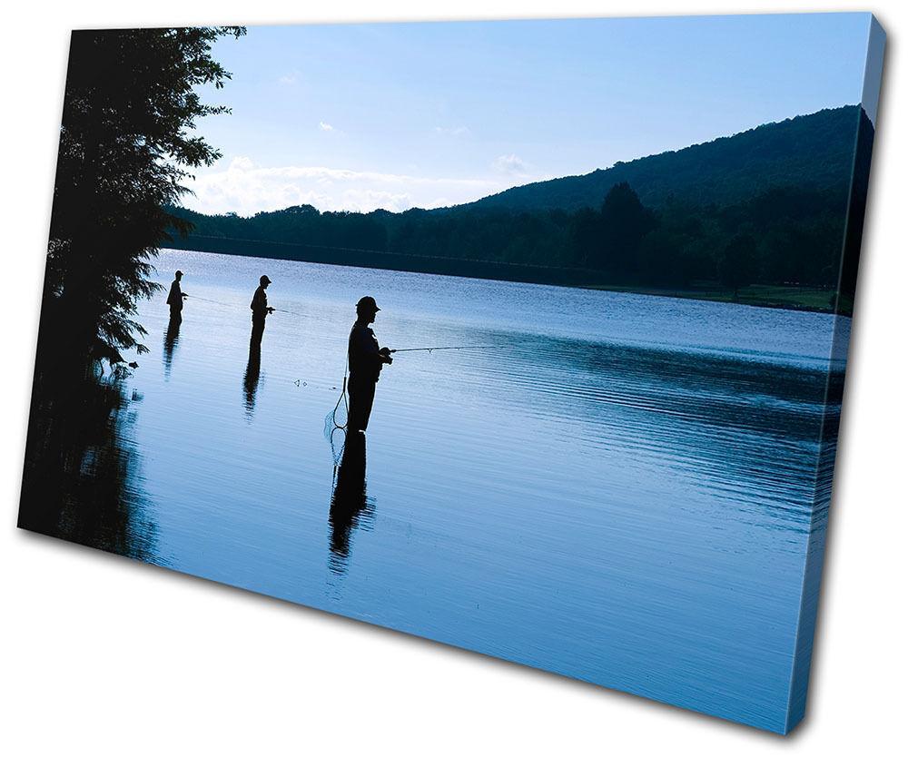 Canvas Art Picture Print Decorative Photo Wall Fishing Lake Dusk Scene Landscape