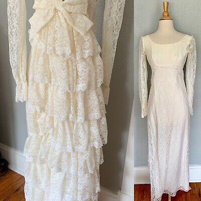 Vintage 70s Off White Crochet Lace Mini Dress Sheer Plain Floral Sun Dress Simple Prairie Ivory Country Farm Festival Midi Mini Dress
