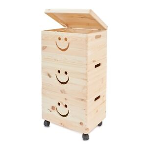 Details About Wooden Toy Storage Box Unit Kids Chest Plain Wood Boxes Children Room On Wheels