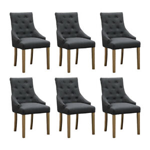 6x Grey Curved Button Tufted Dining Chairs Fabric ...