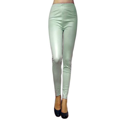 Damen Leggings Leggins Leder Hose Blickdicht Synthetik Mint Rosa 36 38 40 42