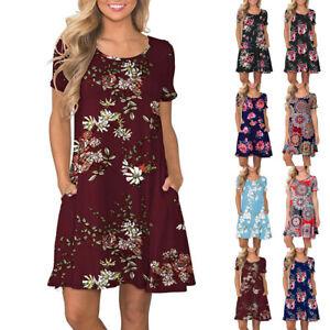 Women-Summer-Short-Sleeve-Floral-Printed-Pockets-Sundress-Casual-Swing-Dress-WEI