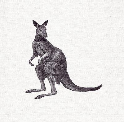 Upholstery Craft Panel Kangaroo Woodcut Design Fabric Cushion