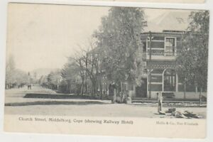 South Africa postcard - Church Street, Middelburg, Cape showing Rly Hotel (A24)