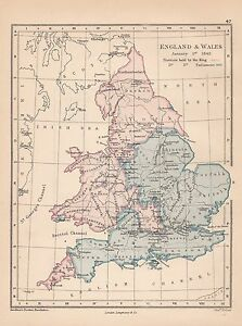 Map Of England Districts.Details About 1885 Victorian Historical Map England Wales January 1643 Districts