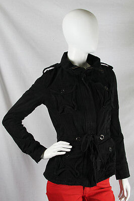 YAG  Couture -Small- $90 Black Silver Sparkles Crest Skull Jacket Coat NWT SZ SM