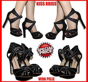 SANDALIAS zapatos de salón MUJER KISS KRISS PIEL AUTÉNTICA NÚMEROS 36 37 38 39