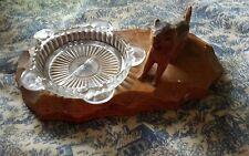 FOLK ART HANDMADE HAND CARVED WOODEN SQUIRREL GLASS CIGARETTE ASHTRAY HOLDER
