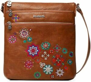 Details about GENUINE Desigual BROWN handbag shoulder crossbody embroidered studs rrp £64 UK