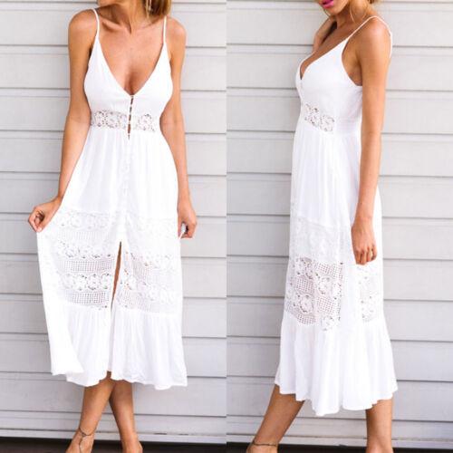 Damen Sommer Strandkleid Bikini Cover Up Bedecken Boho Maxikleid Kleider Weiß