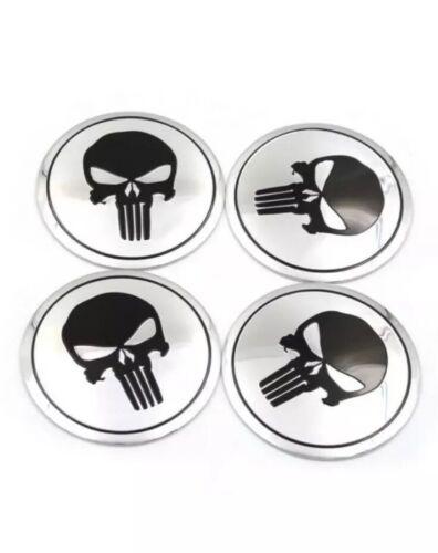 "56mm Skull Punisher Car Wheel Center Hub Cap Emblem Sticker Decals 2.25"" Silver"