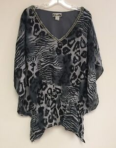 Women-s-Printed-Embellished-Batwing-Dolman-Sleeve-Cinched-Waist-Blouse-Top-NWT