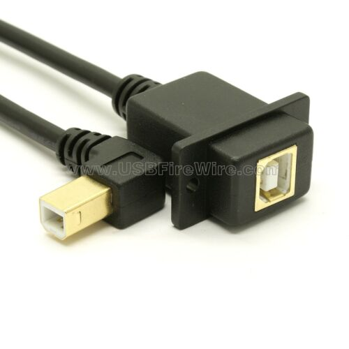 Panel Mount USB 2.0 Right Angle B Extension Cable