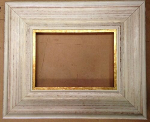 """F008 2-1//4/"""" White with Gold Lip Picture Frame"""