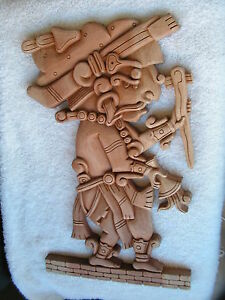 Mayan warrior cedar wood carved new. ebay