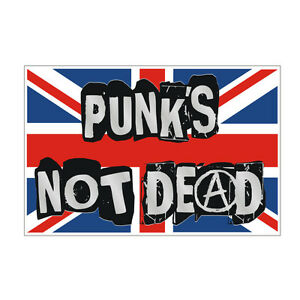 Sticker-plastifie-PUNK-039-S-NOT-DEAD-Anarchy-UK-Sex-Pistols-Mini-11cm-x-7cm